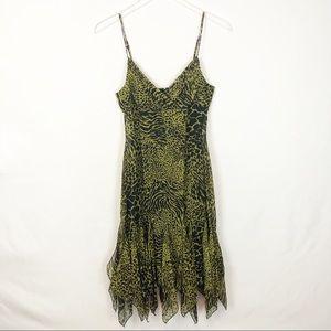 Betsey Johnson Silk animal print ruffle midi dress